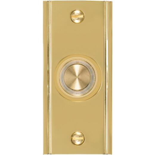 IQ America Wired Polished Brass Lighted Doorbell Push-Button