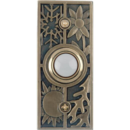 IQ America Wired Antique Brass Seasonal Lighted Doorbell Push-Button